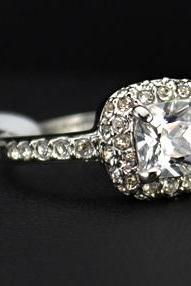 Beautiful 18K Gold Plated Square Halo Ring paved w/ Swiss CZ's (avail in Sizes 5.5, 6, 6.5, 8)