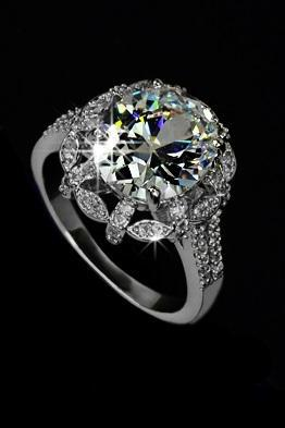 Sparkly White Gold 5ct Egg shape Swiss Cubic Zirconia Noble Flower Ring - avail in Sizes 5.5 thru 9 only