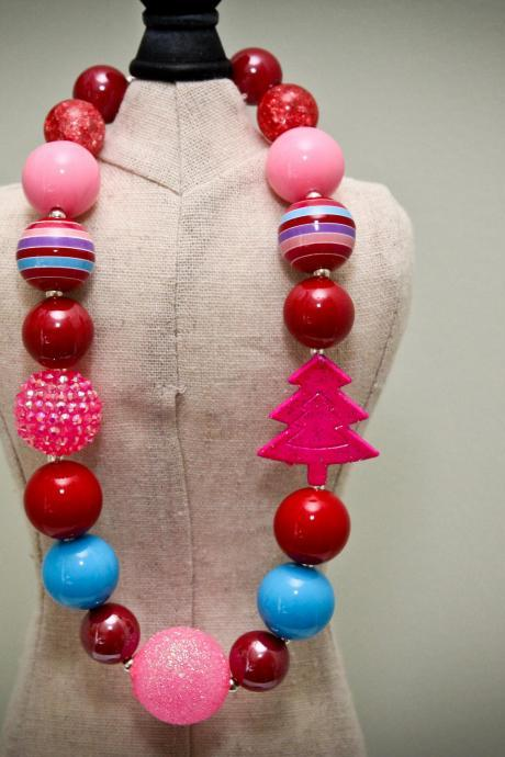 Pink Holiday Chunky Toddler Necklace
