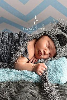 Koala Bear Hat, Crochet Koala Hat, Newborn Hat - Made To Order