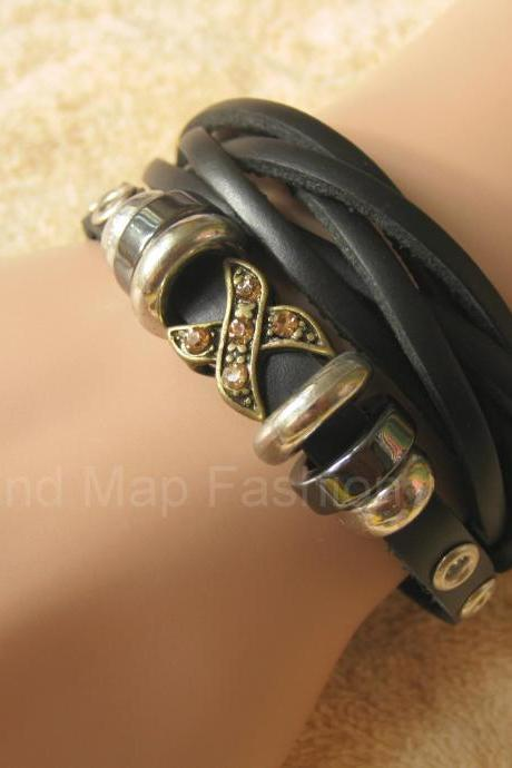 "W60 Women Fashion Weave Wrap ""X"" Beads Black Leather Bracelet Adjustable"