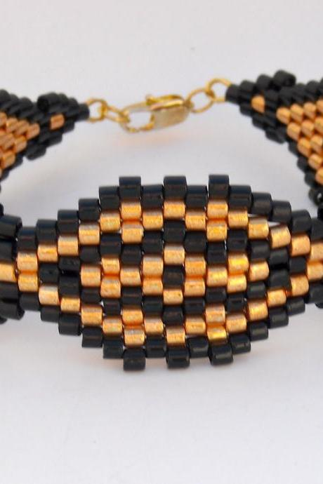 Bead Woven Bracelet Black and Gold Cuff