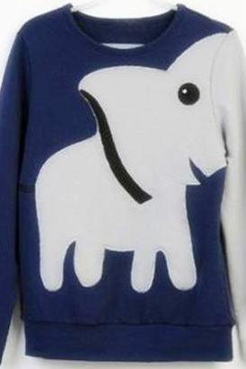 Fun elephant pattern long-sleeved pullover sweater leisure A 071023