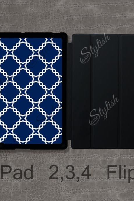 iPad Flip Case - Navy Blue Knitted Pattern , Modern Trellis - iPad 2 Magnetic Smart Case , Custom iPad 3 Cover , iPad 4 Case / 011