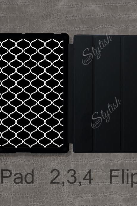 iPad 2 / 3 / 4 Flip Case - Black Trellis Pattern - iPad 2 Magnetic Smart Case , Custom iPad 3 Cover , iPad 4 Case , iPad Retina Case / 010