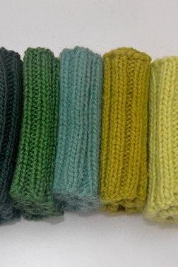 Knit Boot Cuffs Green Line. Dark Green, Green, Jungle Green, Light Olive, Lime Boot Toppers.