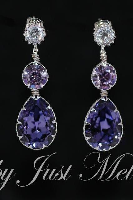 Round Cubic Zirconia Earring with Swarovski Violet Round, Tanzanite Teardrop Crystals - Wedding Jewelry, Bridal Earrings (E567)