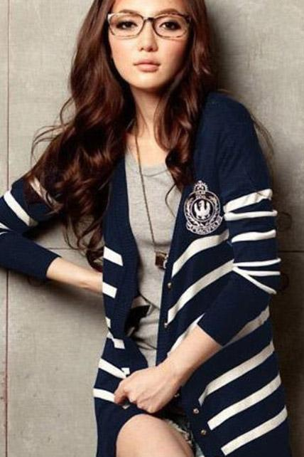 Preppy Style Single Breasted V Neck Striped Cardigans - Navy Blue