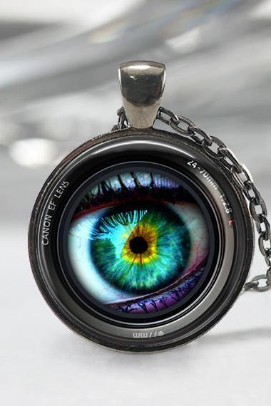 Eye in a Camera Lens Necklace, Photographer Jewelry ,Camera Art Pendant, Lens Necklace