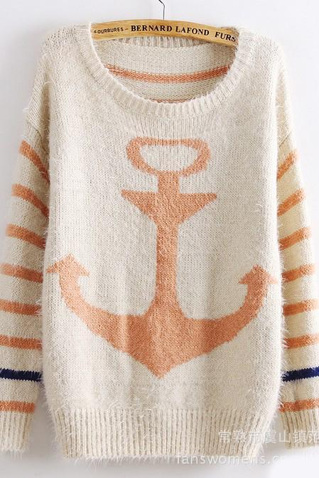 Women Striped navy retro Sweater - Pink