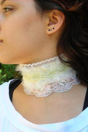 Softness Victorian Feather Collar garter gothic steampunk romantic bridal choker necktie white soft pink yellow wedding bride