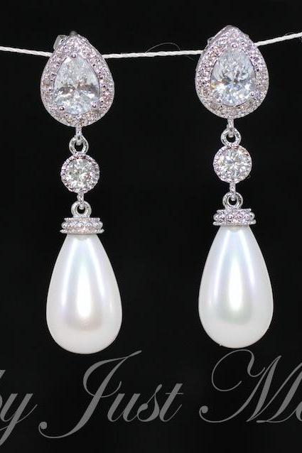 Wedding Earrings, Bridesmaid Earrings, Bridal Jewelry - Cubic Zirconia (cz) Teardrop Earring with Round CZ and White Briolette Pearl (E294)