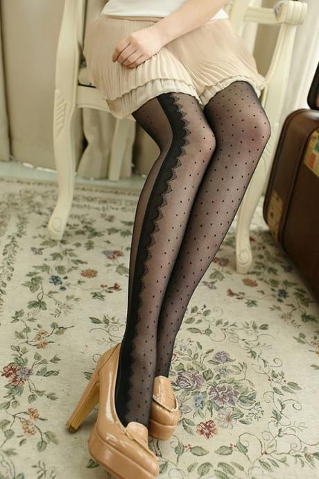 Lace Stripe Pantyhose, Lace Stripe Leggings, Polka Dots Pantyhose, Black Stockings, Polka Dots Pantyhose Leggings, Pantyhose Leggings, Polka Dots Leggings, Sheer Pantyhose, Sexy Tights, Black Pantyhose, Sexy Pantyhose, Cute Pantyhose