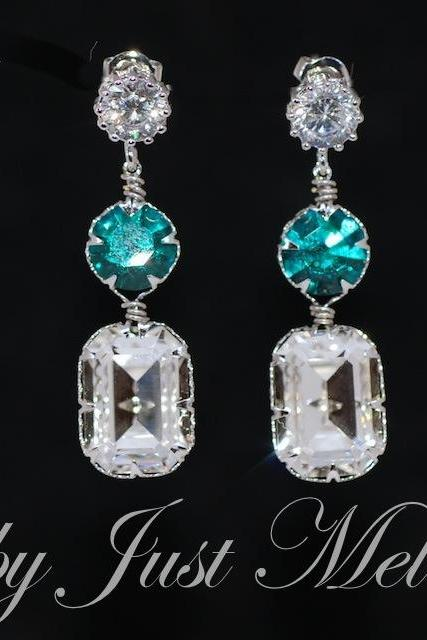 Wedding Earrings, Bridesmaid Earrings, Round Cubic Zirconia Earring with Swarovski Blue Zircon Round, Clear Octagon Crystals (E566)