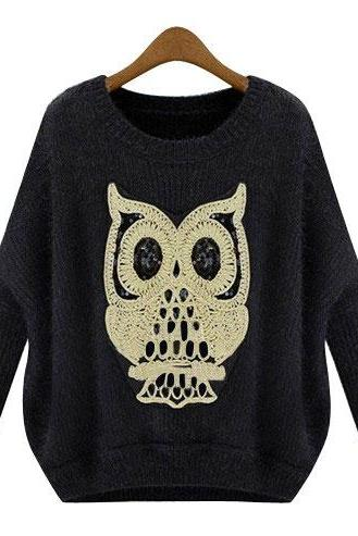 Elegant Black Sequined Owl Bat Sleeve Embroidery Sweater