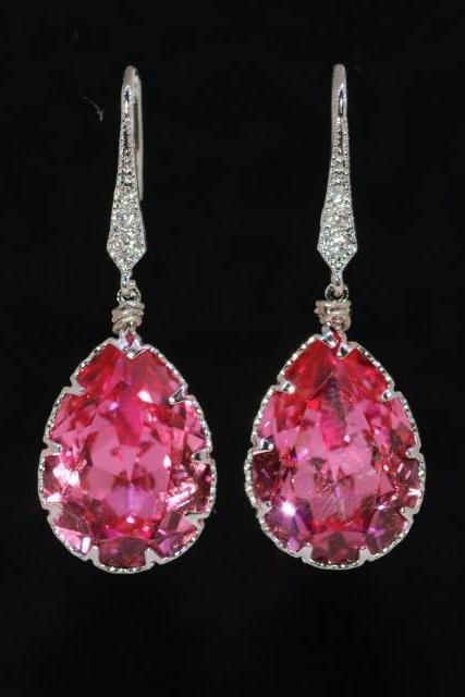 Wedding Earrings, Bridesmaid Earrings, Cubic Zirconia Detailed Earring Hook with Swarovski Rose Teardrop Crystal (E256)