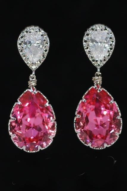 Cubic Zirconia Teardrop Earring with Swarovski Rose Teardrop - Wedding Earrings, Bridesmaid Earrings, Bridal Jewelry (E267)