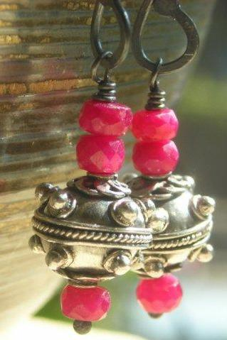 Genuine Ruby earrings, ruby and silver earrings, sterling silver and semi precious stone earrings, gemstone earrings, beaded earrings, red