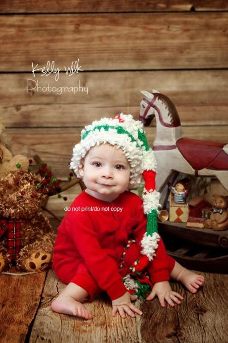 HAT elf Christmas white red boy girl unigender newborn photography props 0 to 6 months handmade in Canada