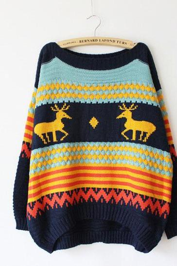 Unique Bat Boat Neck Sleeve SweaterWith Fawn Printed