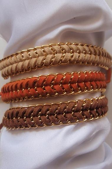 Warm neutral - fishbone braid bracelet, gold chain summer trend modern gift choose your color