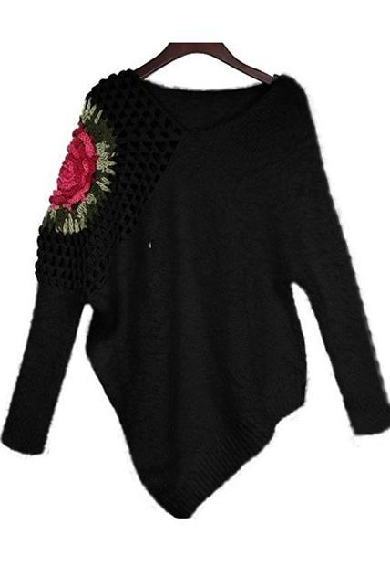 Fashion New V Neck Rose Flower Print Pullovers - Black
