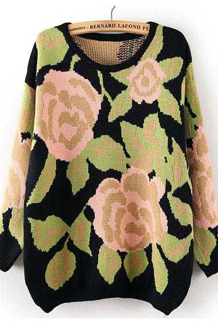 New Pastel Big Flowers Print Jumper Sweater for Woman