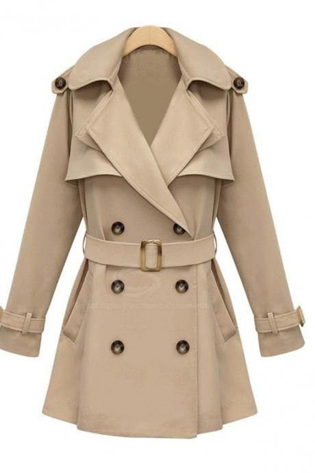 British Style Lapel Long Women's Coat