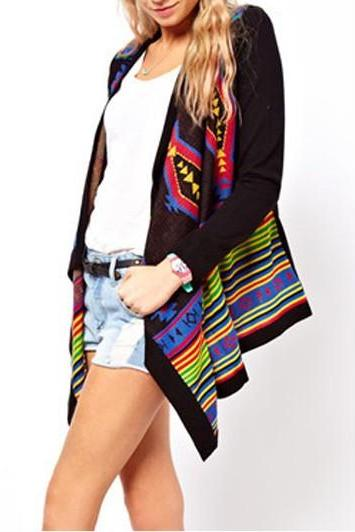 Ethnic Style Multicolor Unclosed Design Cardigans for Woman