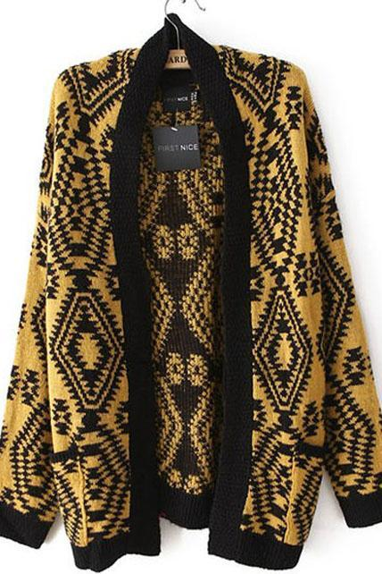 Woman Geometry Long Sleeve Cardigans - Black & Yellow