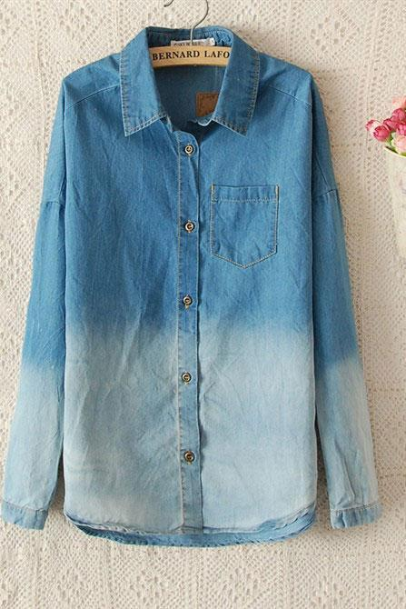 Fashion Denim Shirt Blue Gradient