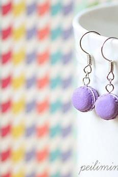 Dangling Macaron Earring in Royal Purple