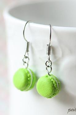 Dangle Macaron Earring in Lime Green