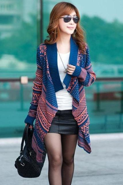 Lady Bohemian Asymmetric Cardigan - Orange