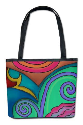 Colorful Abstract Painting on Handbag Purse Shoulder Bag My Funky Digital Painting