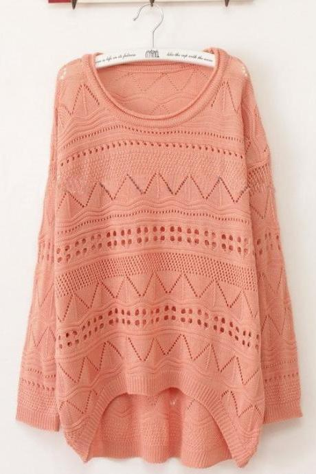 Pink Curved Hum Knit Holey Texture Sweater