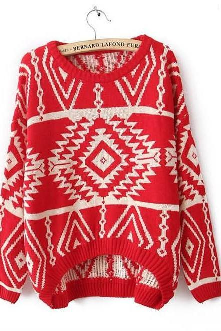 Hot Sale Geometry Pattern Knitting Wool Pullovers - Red