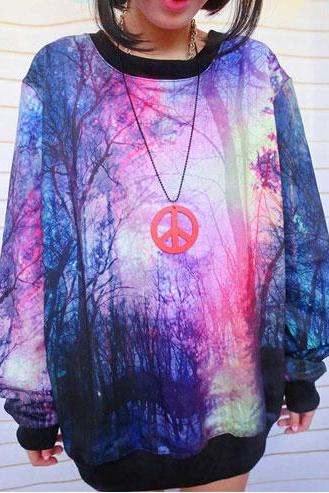 Unique Universe Star Purple Jungle Gradient Sleeve Sweater