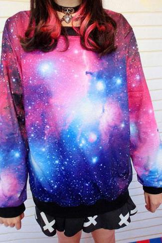 Universe Star Blue Sleeve Sweater Graffiti Gradient