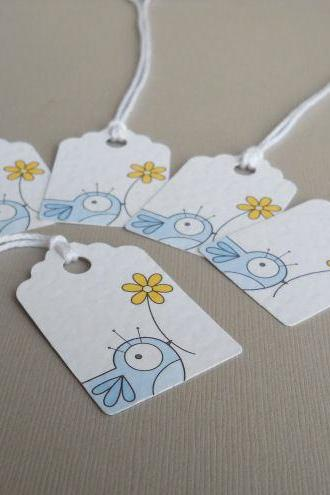 blue bird decorative gift tags