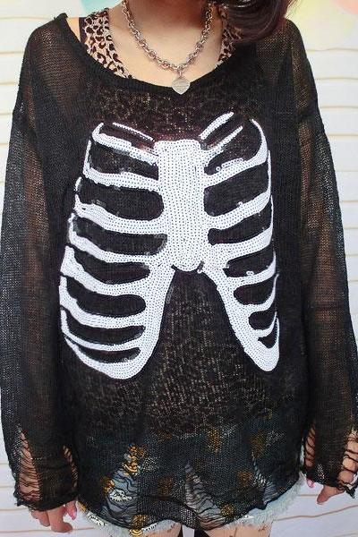 Unique Black Sequined Hollow Out Sleeve Sweater Skull Skeleton