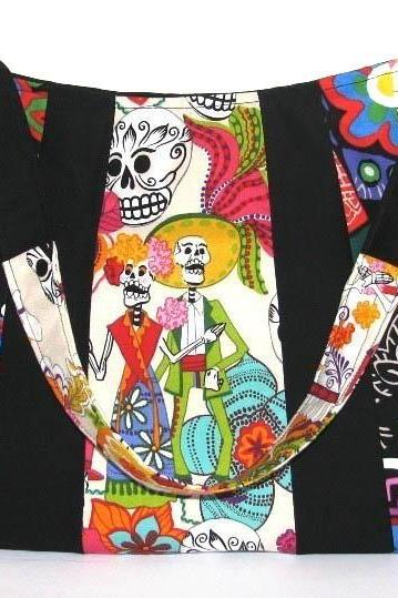 Los Novios Skeletons Mexican Style Large Hobo Punk Goth Pyschobilly Bag
