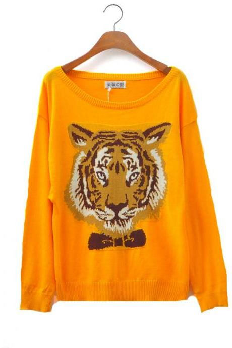 Banana Color Tiger Head Sleeve Sweater&Cardigan