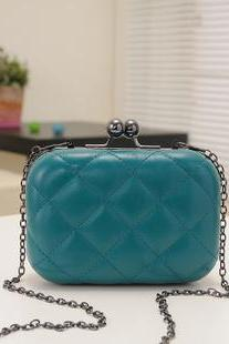 Candy-Color Evening Clutch Party Bridal Fashion Chain Mini Lingge Bags Clutch Handbag-Green
