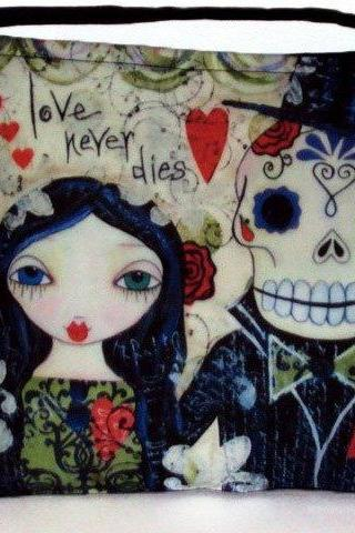 Love Never Dies Skeleton Goth Cute Art, Lisa Ferrante Artwork, Cross Body Essentials Handbag