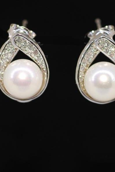 Wedding Earrings, Bridesmaid Earrings, White Pearl on Cubic Zirconia Detailed Teardrop Earring Stud - Wedding Jewelry, Bridal Earrings (E437)