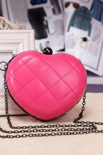 Cute Fashion Chain Mini Lingge Heart Bags Clutch Handbag-Rose