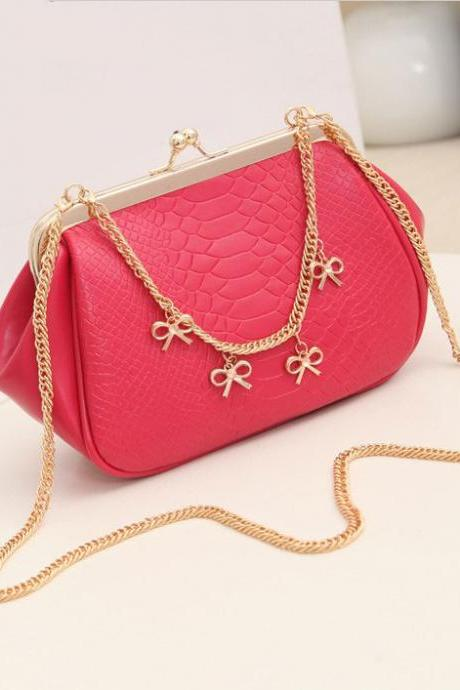 Fashion Crocodile Bags Clutch Handbag-Rose