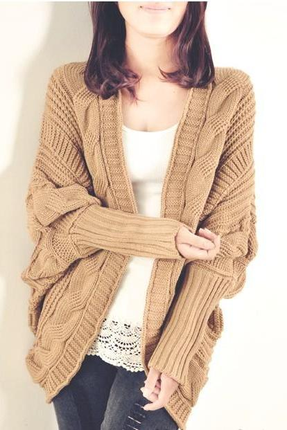 Vogue Slit Design Unclosed Batwing Sleeve Cardigans - Khaki