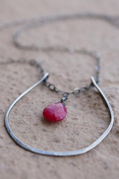 Large Horseshoe Necklace, wire wrapped Ruby necklace, statement necklace, Sterling silver jewelry